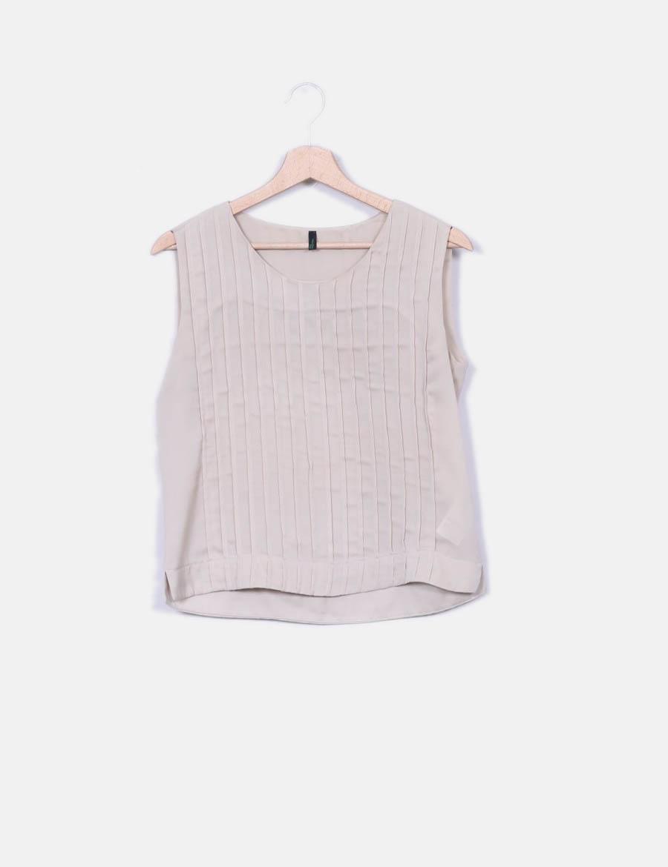 detalles Blusa Tops mujer Benetton online plisados con beige q4rERwxqAg ... a9d1f5847e13