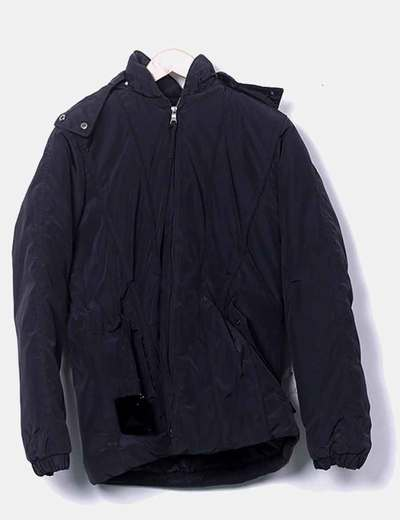 Chaqueta acolchada negro con capucha inextenso