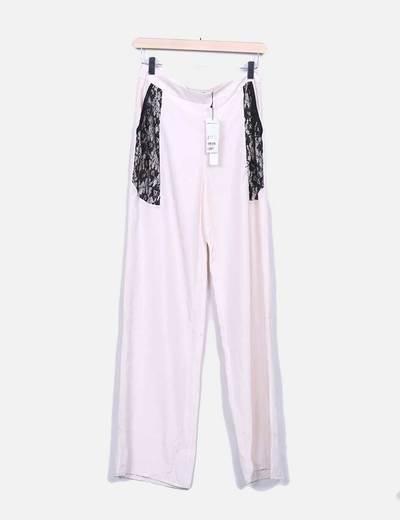 Pantalón fluido rosa palo con encaje Suiteblanco