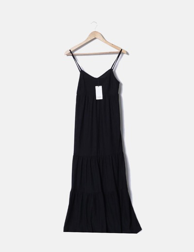 Vestido negro plisado mango