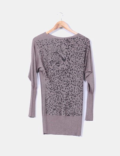 Jersey largo marrón glitter animal print DIORA