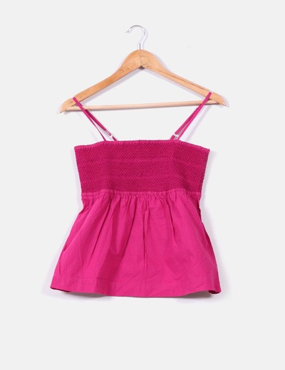 Top rosa de tirantes con goma Vero Moda