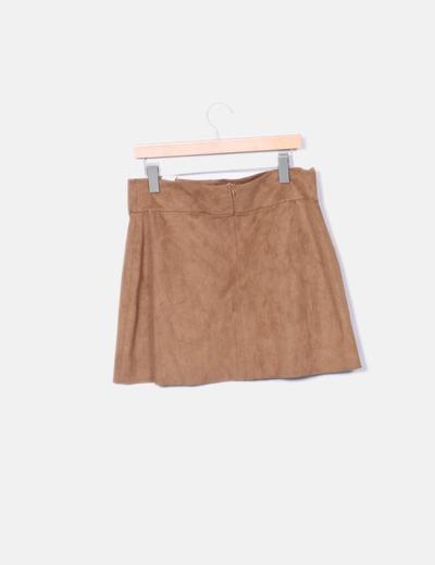 Falda de antelina marron con strass