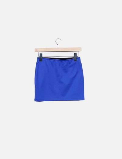 Mini falda elastica azu