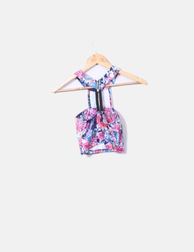 Top floral cropped