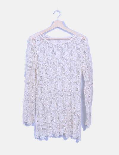 Vestido crochet trasparente beige