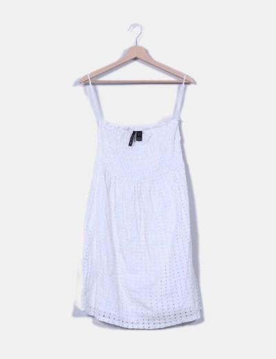 Vestido guipur blanco palabra de honor Mango