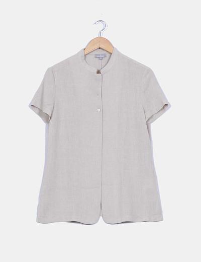 Camisa beige cuello mao Naf Naf