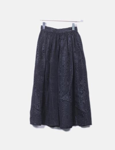 Falda maxi negra estampada