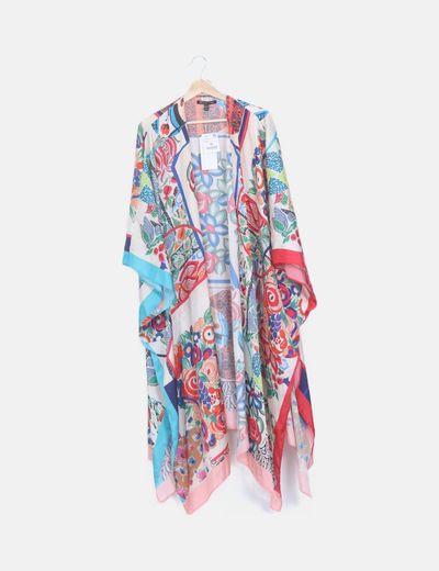 Kimono estampado satinado