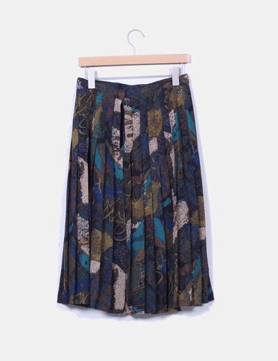 Falda midi estampada con tablillas