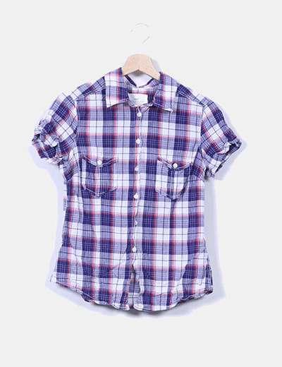 Camisa de cuadros manga corta H&M
