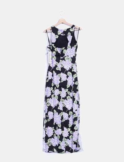 Maxi vestido negro estampado floral