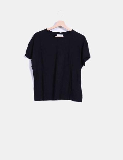 Camiseta manga corta negra Zara