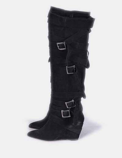 Botas de piel corsario negras con cuña tiras ajustables Mustt