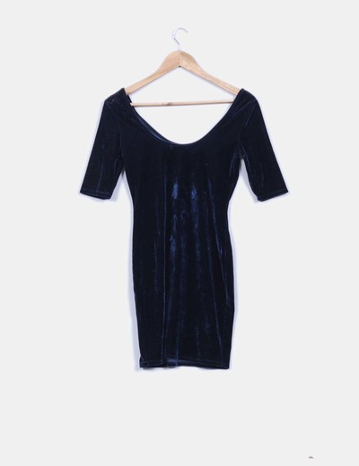 Bershka vestido azul terciopelo