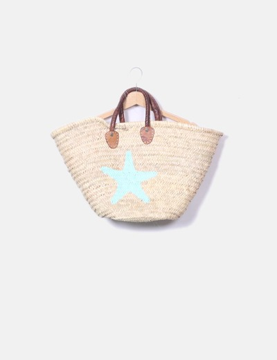 Wicker basket with star print NoName