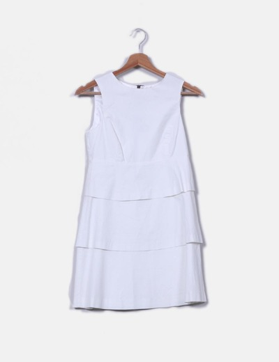 a40d45003 Zara Vestido blanco peplum volantes (descuento 71%) - Micolet