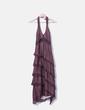 Vestido halter volantes drapeado berenjena Massimo Dutti