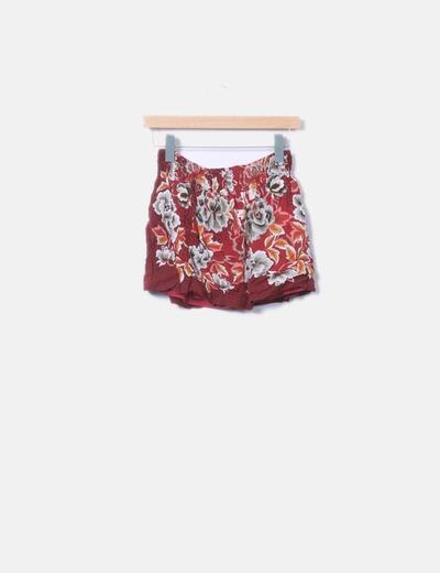Falda granate con estampado floral Bershka