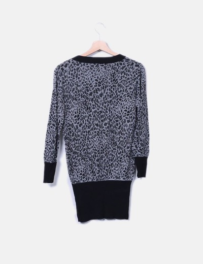 Jersey de punto gris animal print