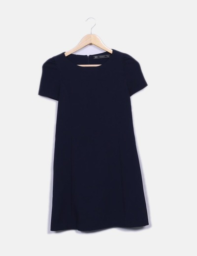 Vestido azul marino manga corta Zara