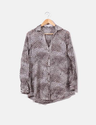 Blusa larga print leopardo Zara