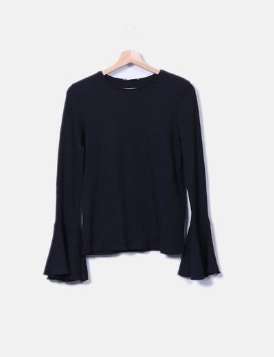 Zara Maglietta nera a costine con balza sulla con (sconto 54%) - Micolet ea884f91e41
