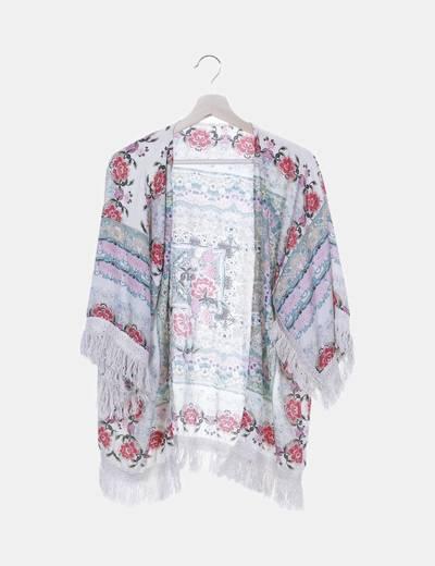Kimono beige floral con flecos