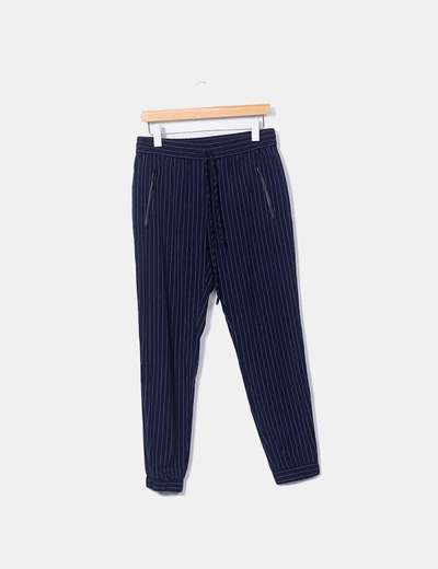 Pantalon bleu marine rayé baggy Mango