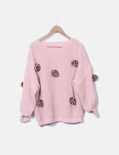 Jersey punto rosa pompones mangas farol NoName