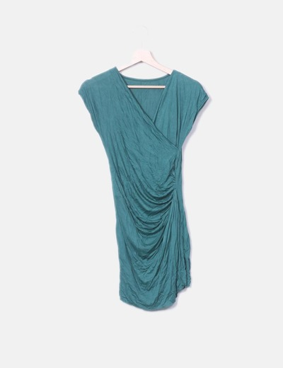Vestido mini verde con fruncido NoName