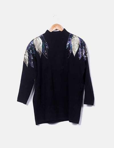 Jersey tricot negro con brillantina