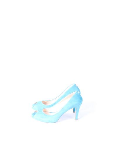 Zapatos peep toe ante turquesa