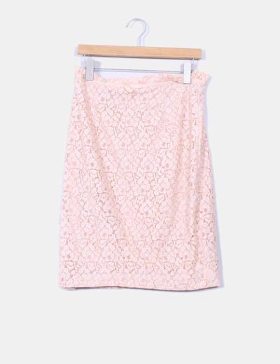 Falda midi nude gipur Suiteblanco