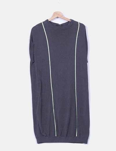 Vestido gris de punto con rayas verdes COS