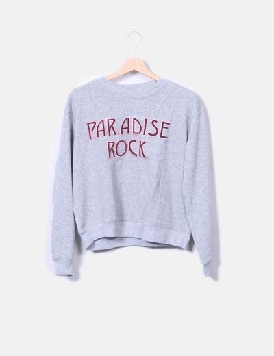 "Sudadera gris ""Paradise Rock"" Pull&Bear"