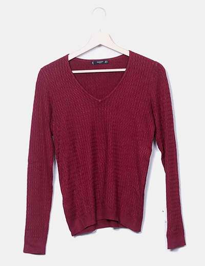 Jersey tricot fino cuello pico