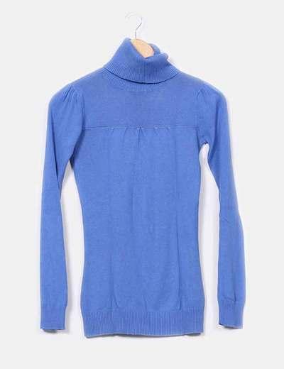 Tricot azul cuello alto Pull&Bear