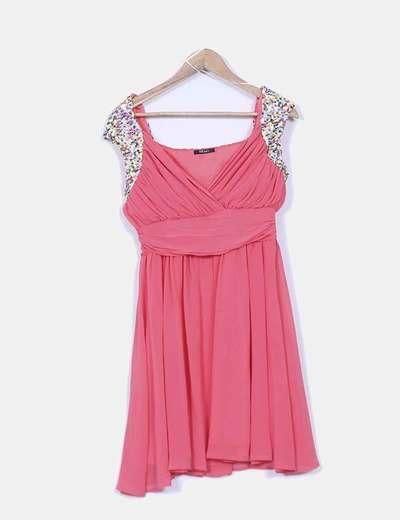 Vestido coral drapeado con lentejuelas NB