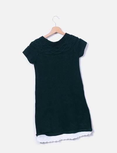 Vestido de punto combinado verde con puntilla