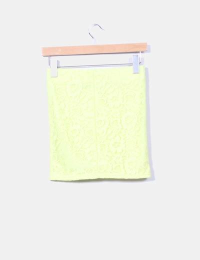 Mini falda amarilla de encaje