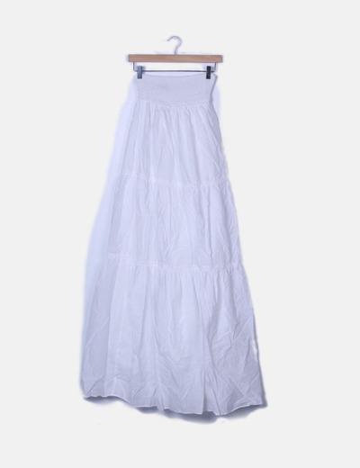 Falda maxi blanca con cintura elastica