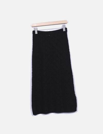 Falda larga de punto negra