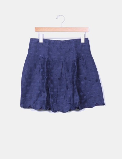 Falda azul marino print topos diKsi