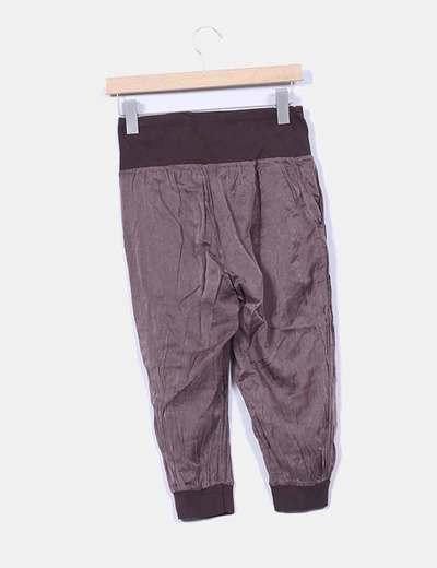 Pantalon pirata raso marron