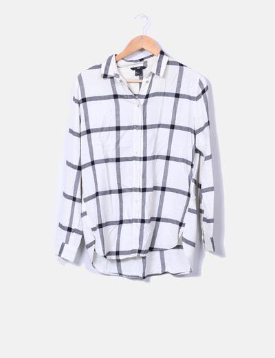 Camisa beige de cuadros H&M