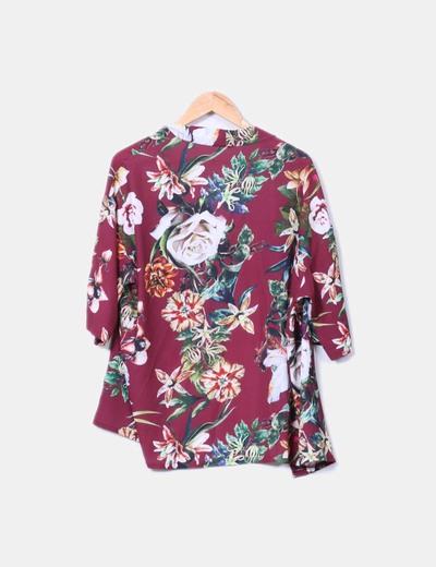 Kimono floral burdeos