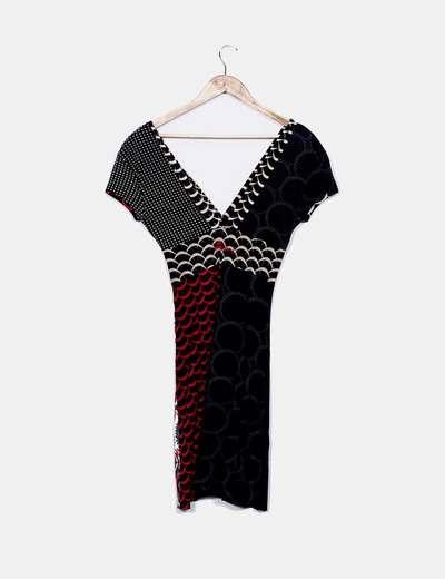 1526ac347e Desigual Vestido negro estampado combinado (descuento 75%) - Micolet