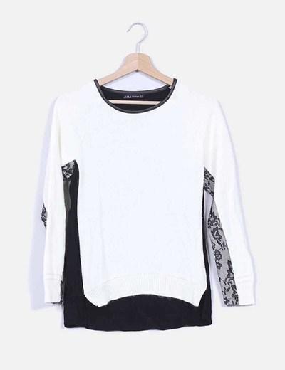 Jersey crudo bicolor combinado con puntilla Zara